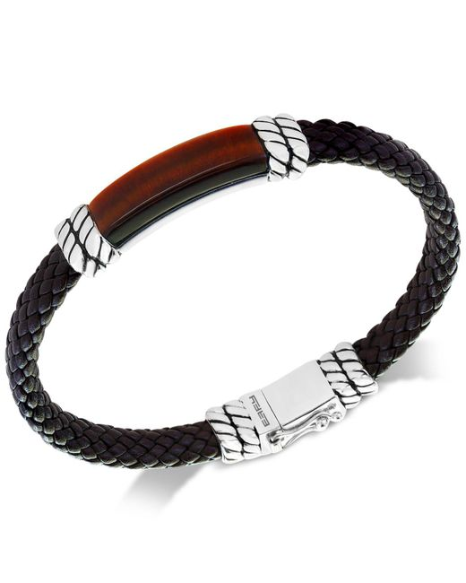 Effy Collection - Metallic Men's Tiger's Eye Brown Leather Bracelet In Sterling Silver for Men - Lyst