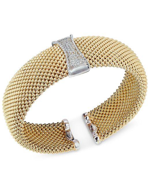 Macy's - Metallic Diamond Mesh Hinged Bangle Bracelet (1/3 Ct. T.w.) In 14k Gold-plated Sterling Silver - Lyst
