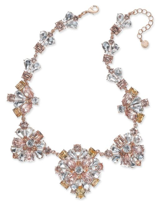 Charter Club | Gold-tone Clear & Pink Crystal Statement Necklace | Lyst