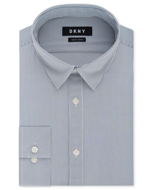 DKNY - Blue Slim-fit Performance Active Stretch Stripe Dress Shirt, Created For Macy's for Men - Lyst