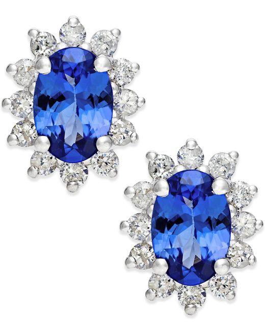 Macy's - Tanzanite (7/8 Ct. T.w.) And Diamond (1/2 Ct. T.w.) Stud Earrings In 14k White Gold - Lyst