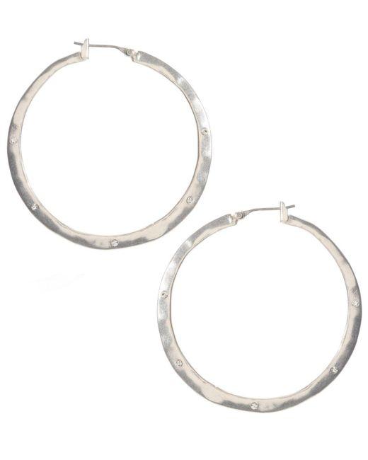 Kenneth Cole | Metallic Earrings, Silver-tone Crystal Hoop | Lyst