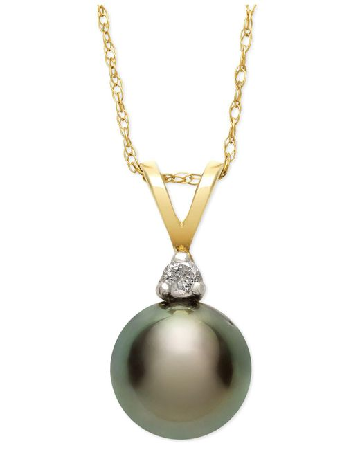 Macy's | Multicolor Tahitian Pearl (8mm) And Diamond Accent Pendant Necklace In 14k Gold | Lyst