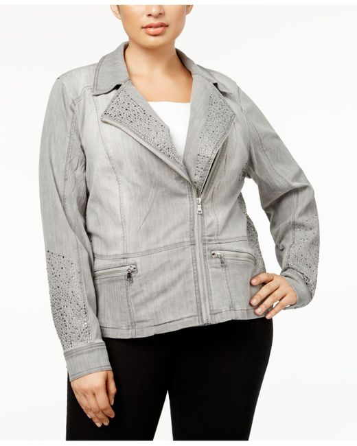 INC International Concepts - Gray Plus Size Studded Moto Jacket - Lyst