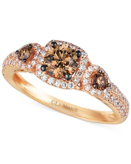 Le Vian - Brown Chocolate And White Diamond Three-stone Ring In 14k Rose Gold (1 Ct. T.w.) - Lyst