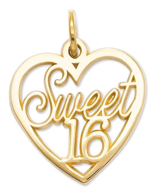 Macy's - Metallic 14k Gold Charm, Sweet 16 Heart Charm - Lyst