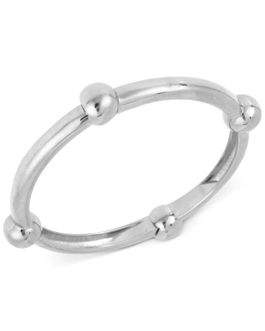 Robert Lee Morris - Metallic Silver-tone Large Bead Accented Hinged Bangle Bracelet - Lyst