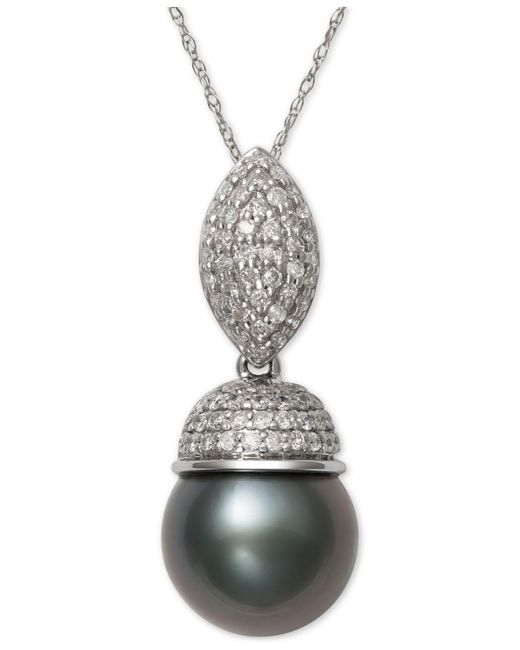 Macy's - Metallic Cultured Tahitian Black Pearl (9mm) And Diamond (3/8 Ct. T.w.) Pendant Necklace In 14k White Gold - Lyst