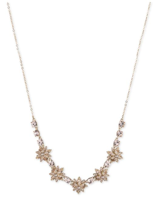 Marchesa - Metallic Gold-tone Crystal & Imitation Pearl Flower Collar Necklace - Lyst