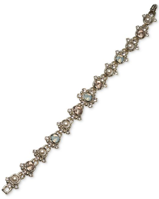 Marchesa   Metallic Gold-tone Imitation Pearl & Crystal Link Bracelet   Lyst