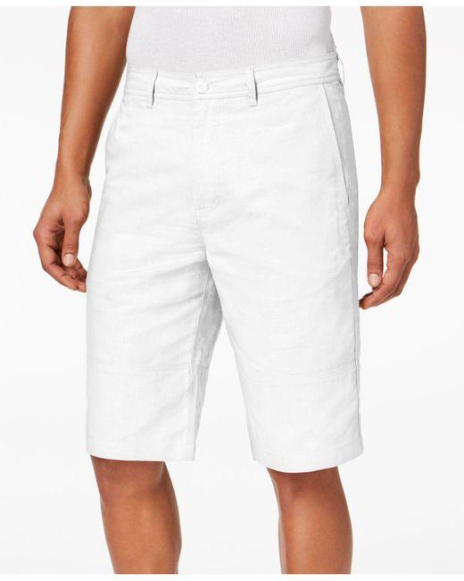 Sean John - White Linen Shorts, Created For Macy's for Men - Lyst