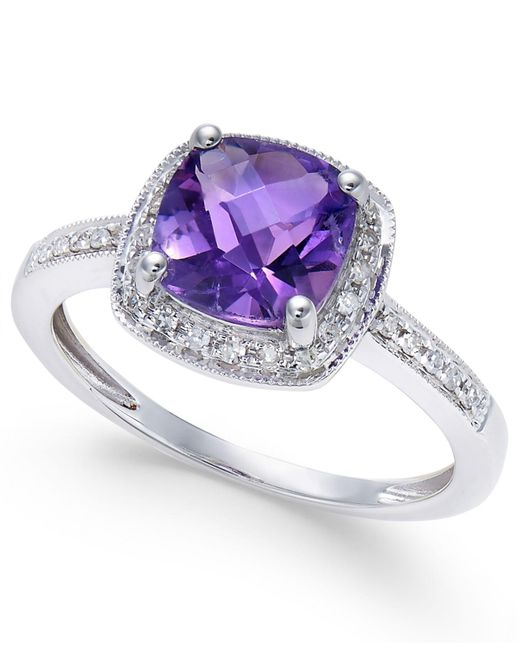 Macy's - Purple Amethyst (1-1/5 Ct. T.w.) And Diamond (1/10 Ct. T.w.) Ring In 14k White Gold - Lyst