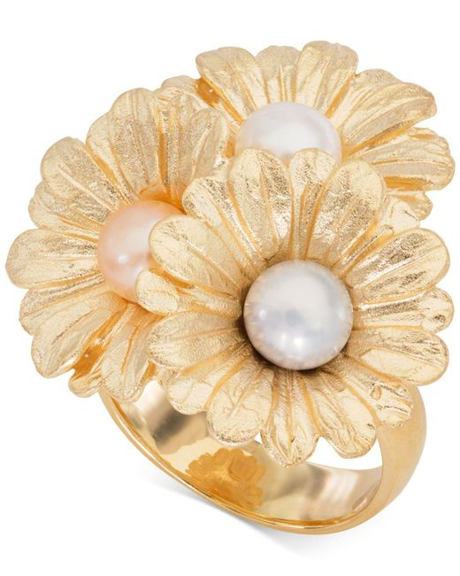 Giani Bernini - Metallic Cultured Pearl (6mm) Daisy Ring In 18k Gold-plated Sterling Silver, Created For Macy's - Lyst