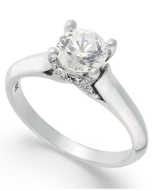X3 - Metallic Certified Diamond Solitaire Engagement Ring In 18k White Gold (1 Ct. T.w.) - Lyst