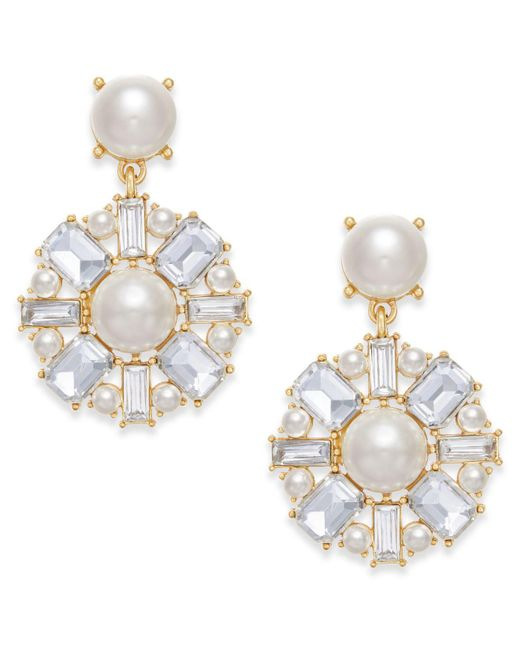 Charter Club | Metallic Gold-tone Imitation Pearl & Crystal Drop Earrings | Lyst