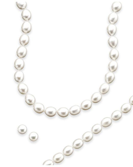 Macy's - Metallic Sterling Silver Freshwater Pearl Necklace, Bracelet And Earring Set - Lyst