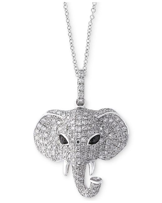 Effy Collection - Metallic Diamond Elephant Pendant Necklace (3/4 Ct. T.w.) In 14k White Gold - Lyst