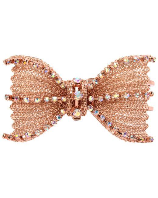 Betsey Johnson | Pink Rose Gold-tone Crystal Mesh Bow Hinged Bangle Bracelet | Lyst