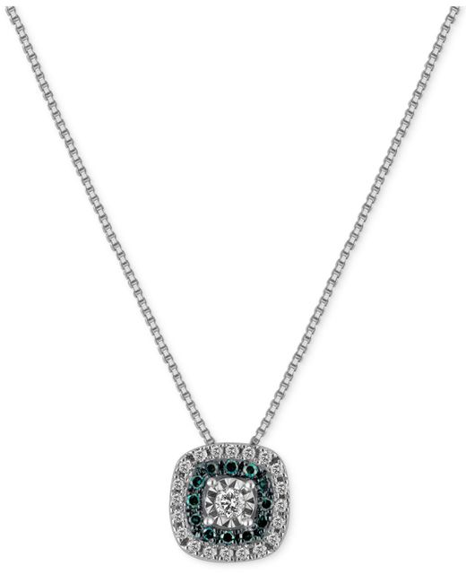 Macy's - Metallic Diamond Multicolor Pendant Necklace (1/4 Ct. T.w.) In Sterling Silver - Lyst