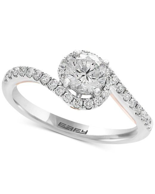 Effy Collection | Metallic Diamond Twist Engagement Ring (1 Ct. T.w.) In 18k White And Rose Gold | Lyst