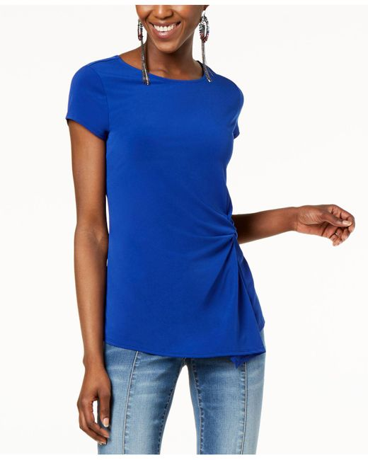 INC International Concepts - Blue I.n.c. Petite Asymmetrical-twist Top, Created For Macy's - Lyst