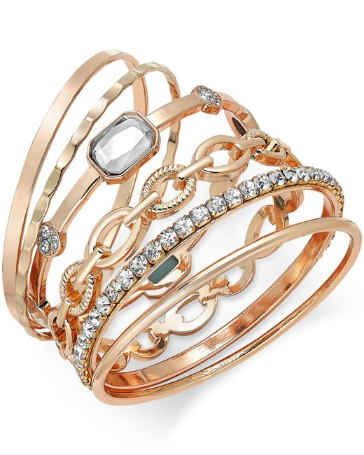 INC International Concepts | Metallic Gold-tone Crystal Enhanced Multi-bangle Bracelet | Lyst