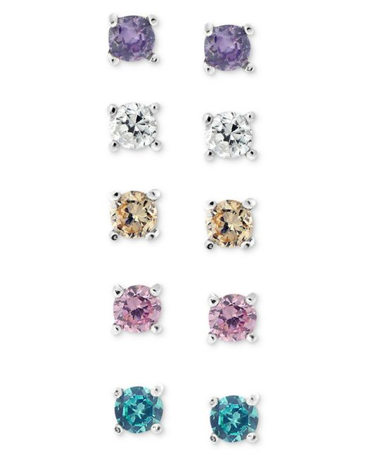 Giani Bernini Brown Sterling Silver Earring Set, Multicolor Cubic Zirconia Five Stud Earring Set (1 Ct. T.w.)