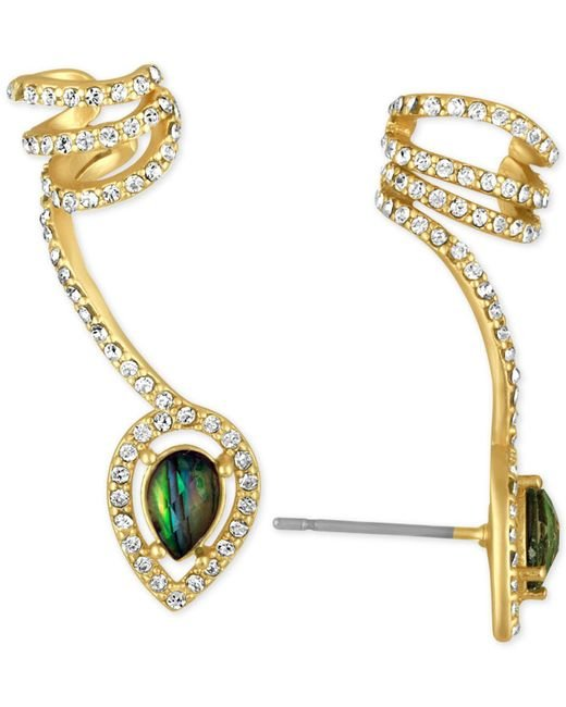 RACHEL Rachel Roy | Metallic Gold-tone Abalone-look Stone And Pavé Wrap Ear Climber With Cuff | Lyst