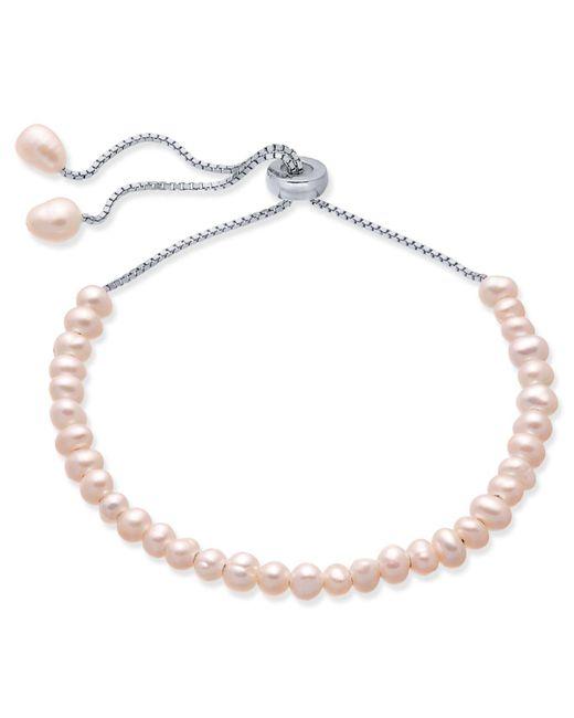 Macy's - Metallic Blush Cultured Freshwater Pearl (4mm) Bolo Bracelet In Sterling Silver - Lyst