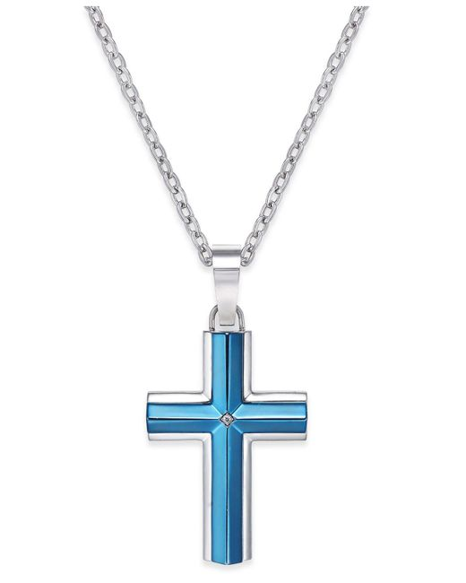 Macy's - Men's Diamond Accent Cross Pendant Necklace In Stainless Steel Blue Ion-plating for Men - Lyst