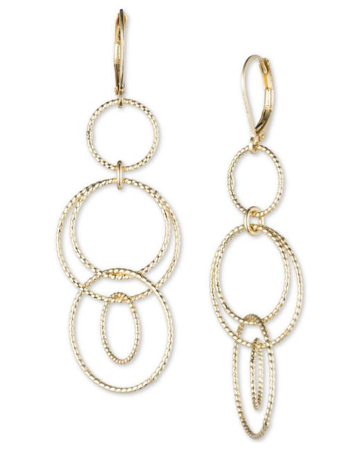 Anne Klein - Metallic Open Circle Triple Drop Earrings - Lyst