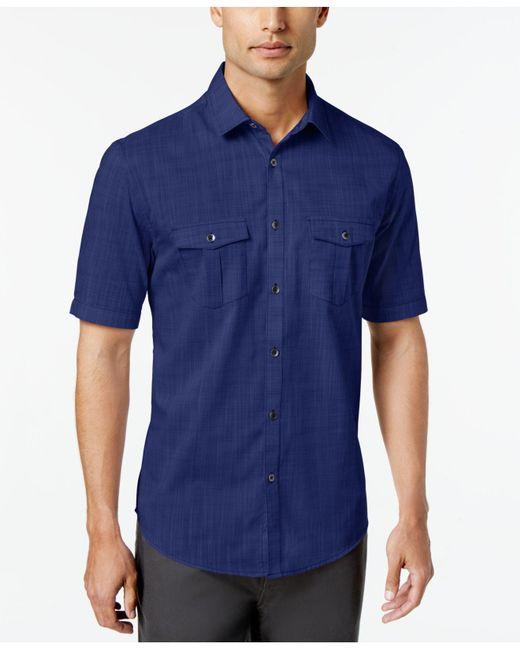 Alfani Blue Warren Textured Short Sleeve Shirt, Created For Macy's for men