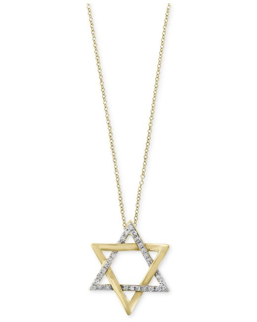 Effy Collection - Metallic Diamond Star Of David Pendant Necklace (1/10 Ct. T.w.) In 14k Gold - Lyst