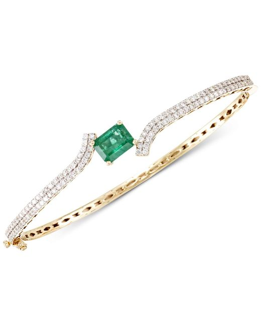 Rare Featuring Gemfields - Metallic Certified Emerald (1-2/3 Ct. T.w.) And Diamond (1 Ct. T.w.) Hinged Bangle Bracelet In 14k Gold - Lyst