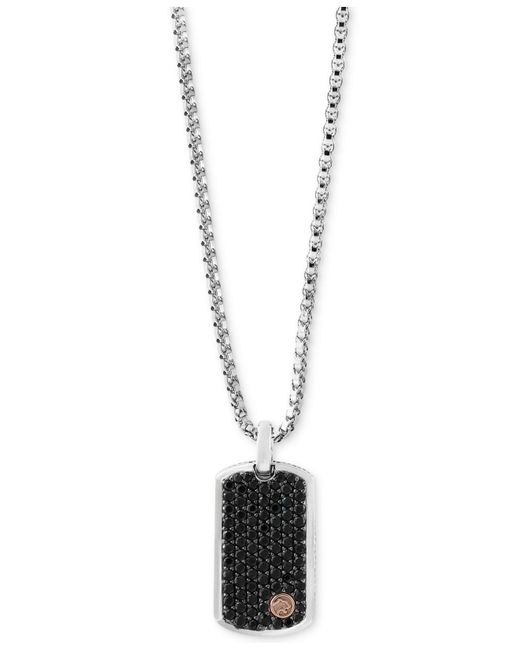 Effy Collection - Black Sapphire Dog Tag Pendant Necklace (3 Ct. T.w.) In Sterling Silver & 18k Rose Gold for Men - Lyst