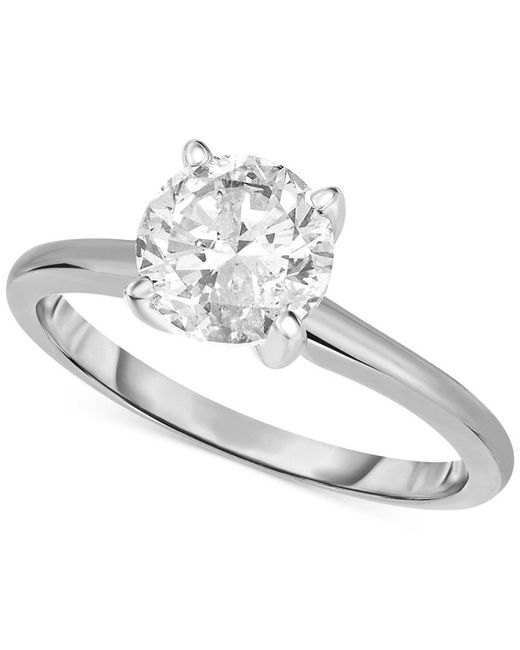 Macy's | Metallic Certified Diamond Engagement Ring In 14k White Or Yellow Gold (1-1/4 Ct. T.w.) | Lyst