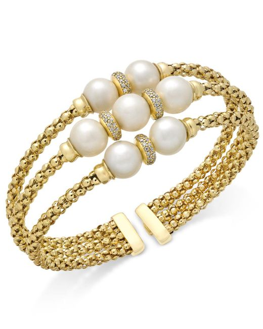 Macy's | Metallic Cultured Freshwater Pearl (7-9mm) & Cubic Zirconia Openwork Bangle Bracelet In 14k Gold-plated Sterling Silver | Lyst