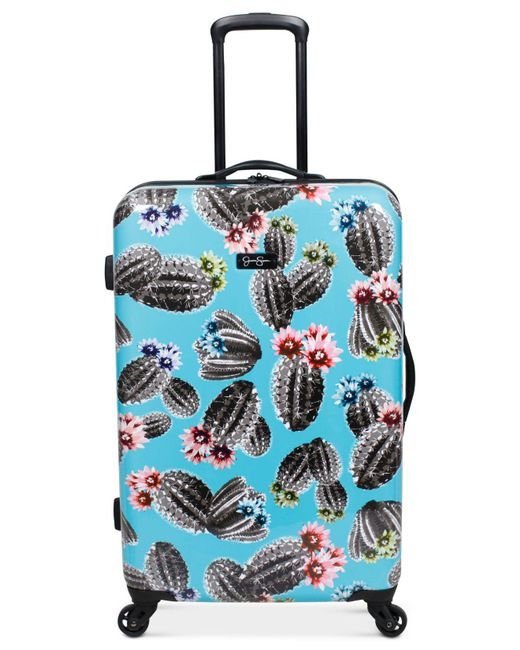 """Jessica Simpson - Blue Cactus Printed 25"""" Hardside Spinner Suitcase - Lyst"""