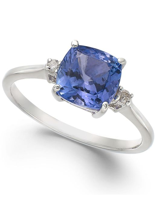 Macy's - 14k White Gold Ring, Tanzanite (1-5/8 Ct. T.w.) And Diamond Accent Cushion Ring - Lyst