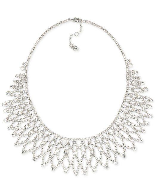 Carolee - Metallic Silver-tone Crystal Bib Frontal Necklace - Lyst