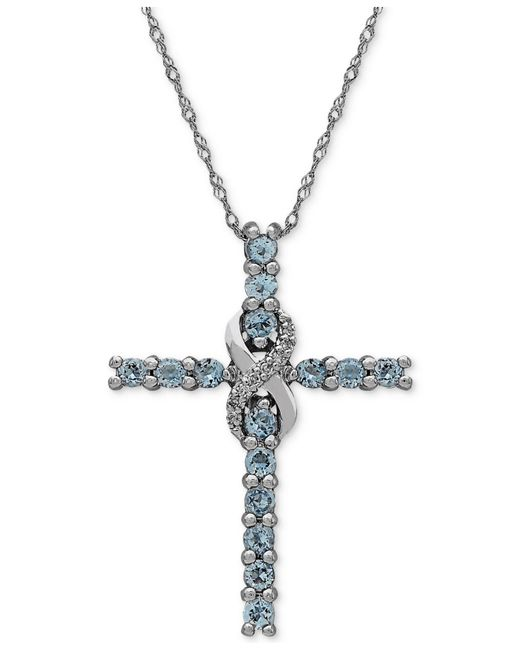 Macy's - Metallic Aquamarine (5/8 Ct. T.w.) & Diamond Accent Cross Pendant Necklace In 14k White Gold - Lyst