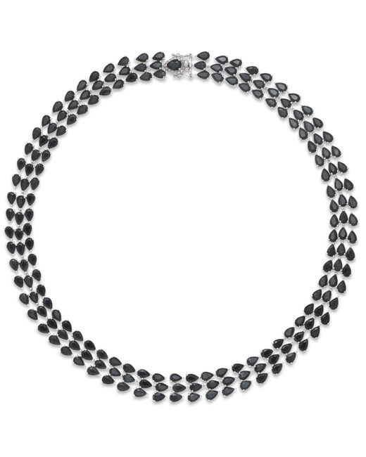 Macy's - Metallic Black Sapphire Three-row Necklace In Sterling Silver (97 Ct. T.w.), Created For - Lyst