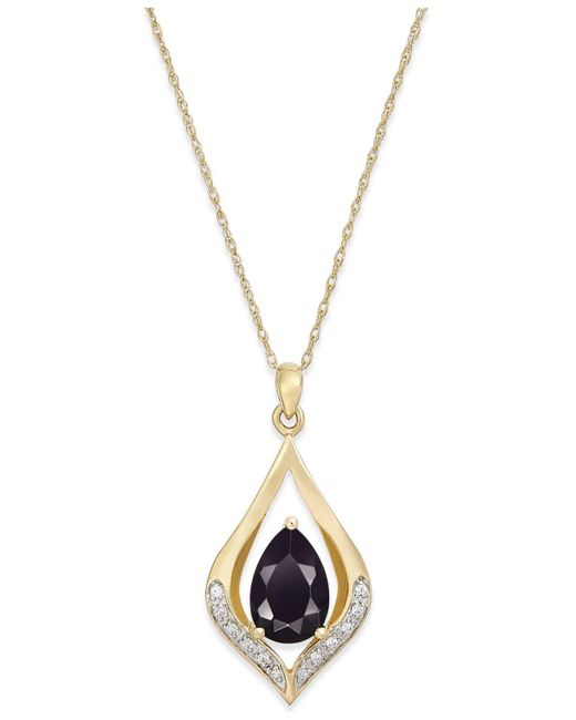 Macy's | Black Onyx (1-1/10 Ct. T.w.) And Diamond Accent Pendant Necklace In 14k Gold | Lyst