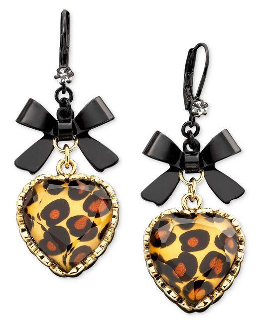 betsey johnson leopard heart bow drop earrings in metallic