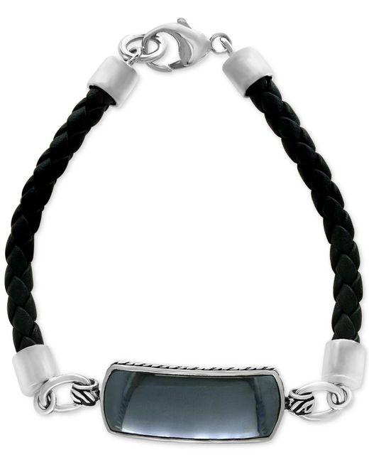 Effy Collection   Metallic Men's Hematite (29 X 10mm) Braided Leather Bracelet In Sterling Silver for Men   Lyst