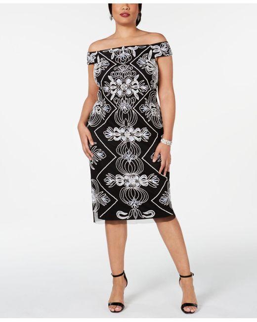 Women\'s Black Plus Size Embellished Off-the-shoulder Sheath Dress