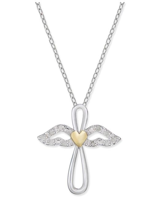 Macy's | Metallic Diamond Two-tone Angel Pendant Necklace (1/10 Ct. T.w.) In Sterling Silver & 18k Gold-plate | Lyst