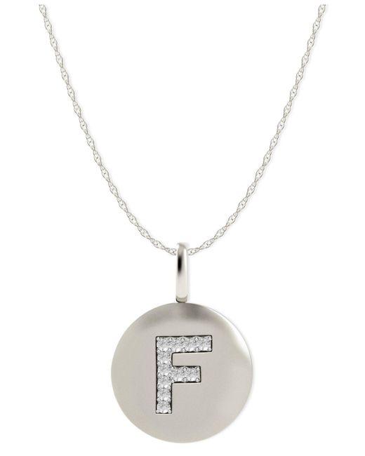 Macy's   Metallic 14k Gold Necklace, Diamond Letter F Disk Pendant (1/10 Ct. T.w.)   Lyst