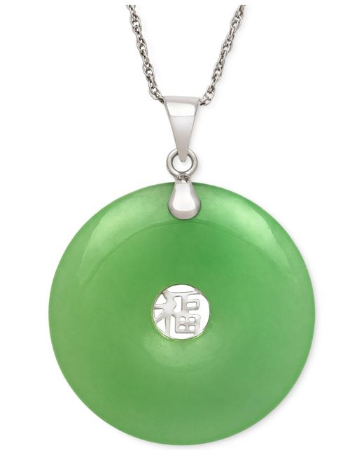 Macy's - Metallic Dyed Jade Symbol Pendant Necklace In Sterling Silver (25mm) - Lyst
