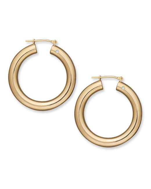 Signature Gold | Metallic Diamond Accent Round Hoop Earrings In 14k Gold | Lyst
